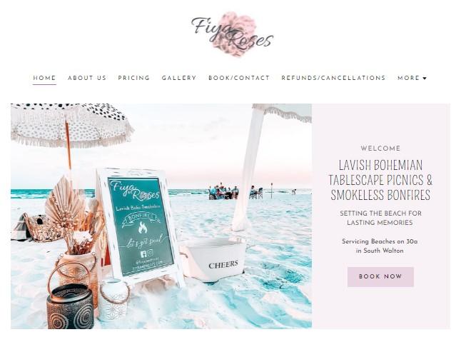 Screenshot of the Fiya & Roses homepage.